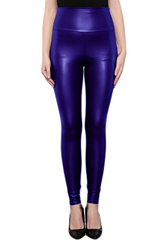 Sodacoda Ladies High Waist Stretch Faux Leather - Tight Leggings - Wet Look (Blue, S)