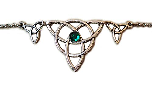 Moon Maiden Jewelry Celtic Triple Triquetra Trinity Knot Headpiece Emerald Green