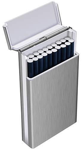 Tenfel シガレットケース スリム 100mm ロング タバコ 20本収納可 軽量 頑丈 タバコケース 夏場 汗 対策 ワンタッチ開き 人気なギフト 2点セット [並行輸入品]