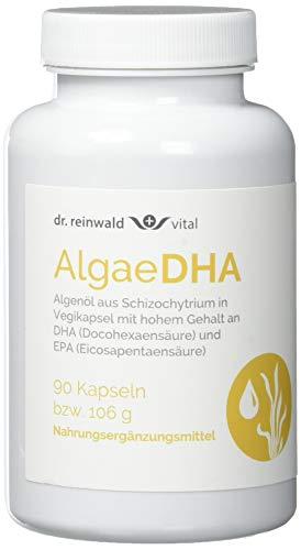 dr.reinwald AlgaeDHA – Veganes Nahrungsergänzungsmittel mit Omega-3-Fettsäuren (DHA & EPA) – Algenöl für Gehirn, Herz & Sehkraft – 90 Kapseln