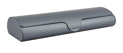 Edison & King Estuche para Gafas Plano con Cubierta de Aluminio y Cierre automático (Large: Gris metálico)