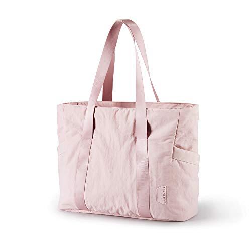 BAGSMART Women Tote Bag Large Shoulder Bag Top Handle Handbag with Yoga Mat Buckle for Gym, Work, School Pink