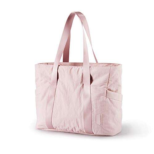 BAGSMART Women Tote Bag Large Shoulder Bag Top Handle Handbag with Yoga Mat Buckle for Gym, Work, School, Pink