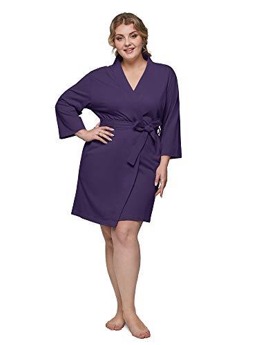 SIORO 3X Plus Size Bath Robe Women Cotton Lightweight Kimono Robes Hospital Delivery Gowns Knit Bathrobe Soft Housecoat Short, Eggplant 3X-Large