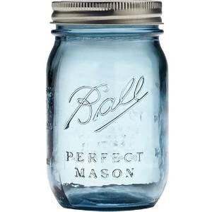 BALL メイソンジャー ブルー 480ml 100周年限定カラー Mason jar 16oz 【並行輸入品】