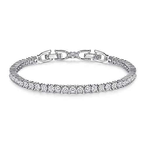 Funkelndes Shiny Tennis Armband mit glänzenden Steinchen I Tennisarmband Schmuck für Damen, Frauen und Mädchen mit Steinen I Damenarmband in echter Juweliersqualität (Silber)