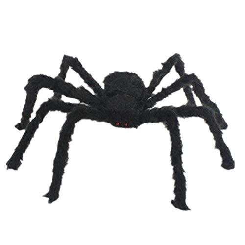 Loozykit 1,5 Meter Spinnen Halloween Große Schwarz Plüsch Spinne mit Roten Augen Große Spinne Dekoration für Halloween Outdoor Yard Spuk Haus Karneval