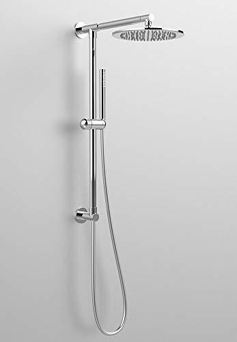 Colonna doccia tonda DIVINA, presa acqua attacco superiore, braccio doccia 350 mm, soffione GIPZY 300 mm e flessibile, made in Italy