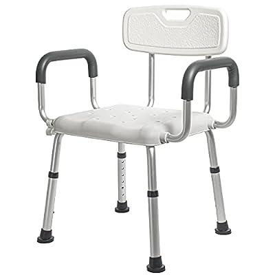 Morimoe Shower Chair for Elderly,Wide Seat,Easy Assembly,Adjustable Height,Non-Slip Feet