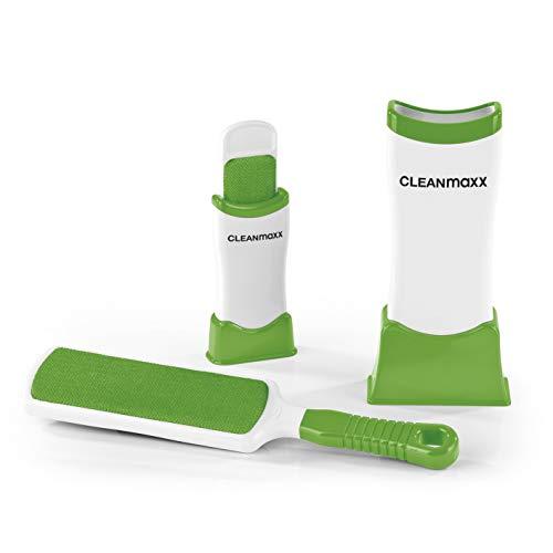 CLAENmaxx Fusselschreck mit Reinigungsfunktion 2er Set | 1 große Universal-Fusselbürste und 1 kleine Reise-Fusselbürste | einfaches Reinigen durch Hin- und Her-Bewegung ([weiß | grün])