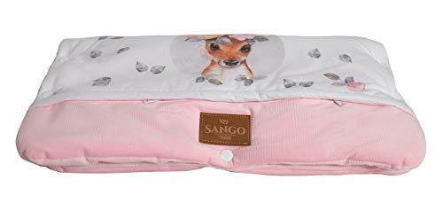 Sango Trade Universal Kinderwagenmuff für einen Trolley Handwärmer 28 x 50 cm Kinderwagen Handschuhe Baumwolle antiallergische Füllung (Hirsch mit Blumen)