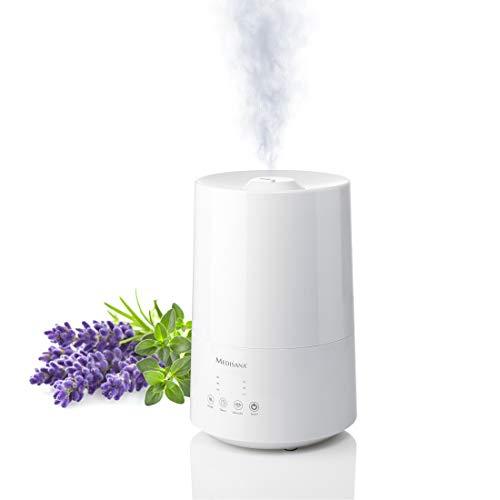 Medisana AH 661 Humidificador ultrasónico, purificador de aire para dormitorio y sala de estar, nebulizador con compartimento de aromas y función de calefacción contra aire seco, 3,5 litros