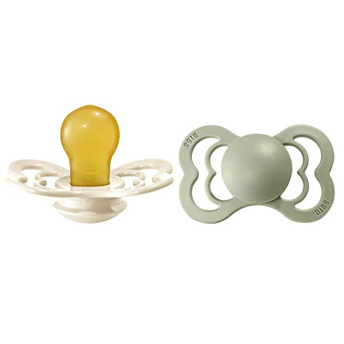 BIBS Supreme Paquete de 2 chupetes. Libre de BPA, Tetina con forma simétrica. Látex natural, Talla 2 (6-18 meses), Ivory/Sage
