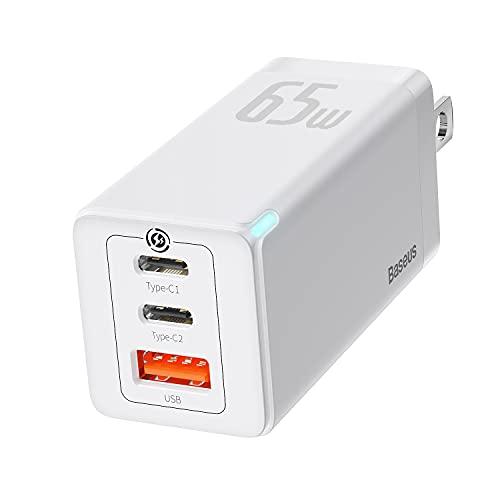 Baseus USB-C-Ladegerät, 65 W, 3 Anschlüsse, faltbar, USB-C-Wand-Ladegerät, schneller USB-C-Ladeblock für iPhone 12/12 Mini/12 Pro/12 Pro Max/SE/11/XR/XS, Samsung, MacBook Pro/Air, iPad, Laptops, Weiß