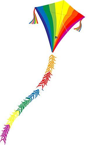 Wolkenstürmer Eddy Regenbogen Kinderdrachen - 1-Leiner Flugdrachen mit Gestänge