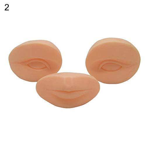 P12cheng Lot de 2 têtes de mannequin, tête plate en silicone pour tatouage des yeux, bouche, maquillage, formation des cils
