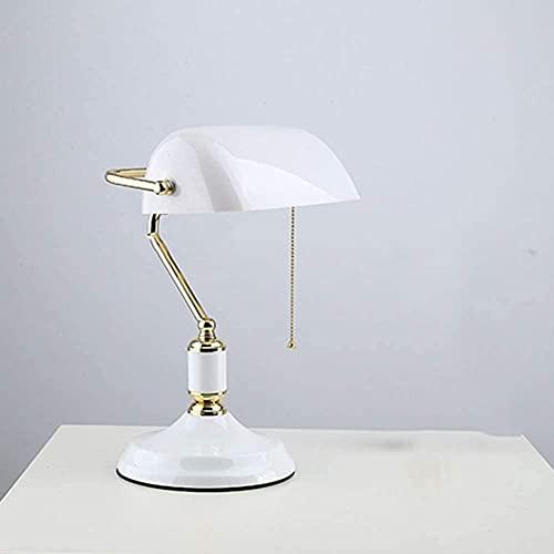 Banquero lámpara verde sombra retro bronce lámpara de mesa tradicional estudio diseño simple diseño ojo lectura lámpara-Platino