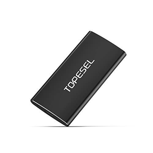 Externe SSD 250GB, TOPESEL Solid State Drive Tragbar Schmal Externe Festplatte 540 MB/s High Speed USB 3.1 Typ C Extern SSD aus Alu, für PC, Laptop, Handy, Schwarz
