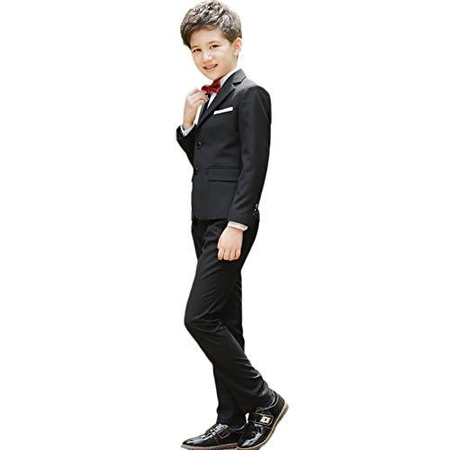 IWEMEK - Disfraz para niño de Honor, Camisas Gentleman Tuxedo Suit Tops Altos, Chaquetas, Pantalones Largos y Pajarita para Boda, Ceremonia y cumpleaños Negro 6-7 Años