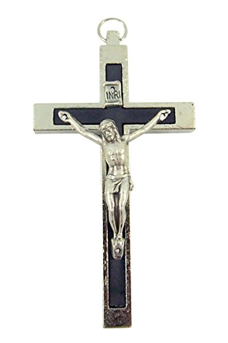 Silver Toned Catholic Cross Crucifix with Black Inlay, 2 3/4 Inch