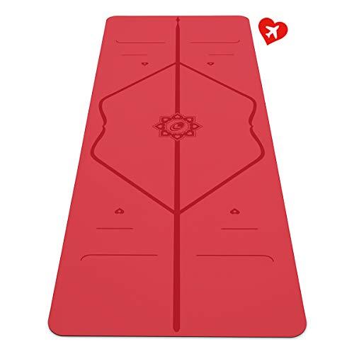 Liforme Love Travel Yogamatte - Die umweltfreundlichste, rutschfeste Yogamatte der Welt mit dem originalen einzigartigen Ausrichtungsmarkierungssystem - Biologisch abbaubar & Griff - Sonderausgabe