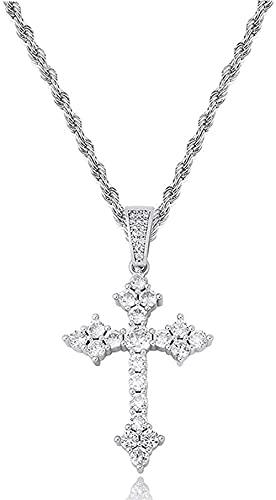 NC110 Collar con Colgante en Platino o Bañado en Oro con Cruz de Jesús con Circonita de 3 mm Cadena de Plata YUAHJIGE