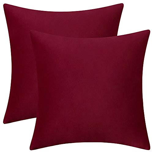 Rythome Set of 2 Comfortable Velvet Throw Pillow Cases Decorative Solid Cushion Covers for Sofa Couch and Bed - 18'x18', Wine