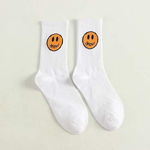 ROUNDER 10 Pares de Calcetines Negros, Amarillos y Blancos con Cara Sonriente Calcetines de algodón de la Marca de Moda callejera, Talla única-Smiley Blanco