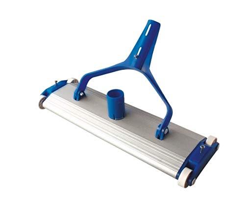 SIQUA Limpiafondos de Aluminio para Piscinas con Cuatro Ruedas y Cepillo de Arrastre.Conexión a Manguera de aspiración de Ø38 mm.Longitud 45 cm