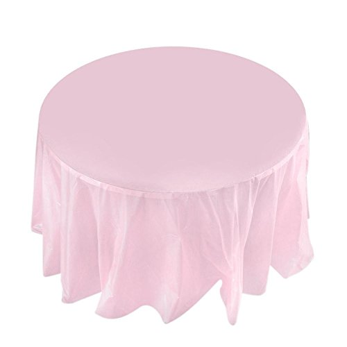 """Whitelotous 84"""" Round Plastic Tablecloths Disposable Table Covers for Wedding Camping Catering Party/Orange"""
