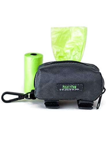 Mighty Paw Dog Poop Bag Holder, Premium Quality Pick-up Bag Zippered Pouch, Includes Carabiner Hook and 1 Roll of Pick-up Bags (Grey/Green)