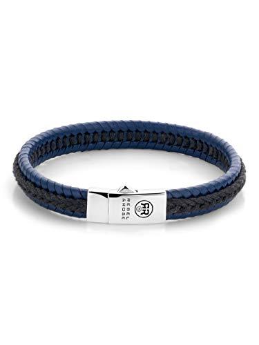 Rebel & Rose Pulsera de piel para hombre, negro/azul, RR-L0066-S-M