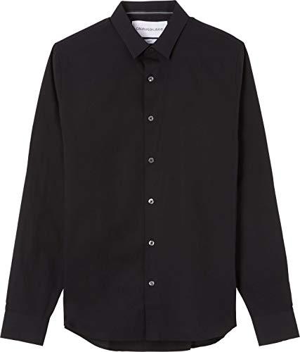 Calvin Klein Jeans Chest Logo Slim Stretch Shirt Camisa, CK Negro, L para Hombre