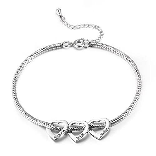DHDHWL Pulsera Personalizado Personalizado Personalizado Nombre del Grabello Corazón Acero Inoxidable Encantos Pulseras para Mujeres Bangle DIY (Length : 3 Hearts, Metal Color : Silver)