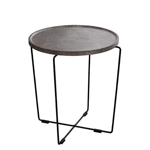 Mesa auxiliar redonda compacta, estilo industrial, muebles de madera para el hogar, mesas de estar, mesita de noche, escritorio de teléfono, mesa de caffe/mesa de comedor (tamaño: 50 x 50 x 62 cm)