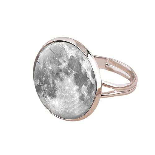 Anillo de estrella de la luna de la moda plateado anillos ajustables para las mujeres hombres Galaxy Space Universo joyería