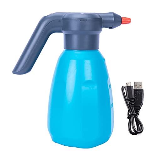 Botella de Agua de riego eléctrica Botella de Agua de riego de Carga de jardín 2L, rociador eléctrico con Boquilla Ajustable, Adecuado para la Limpieza de Puertas y Ventanas de automóviles,Azu