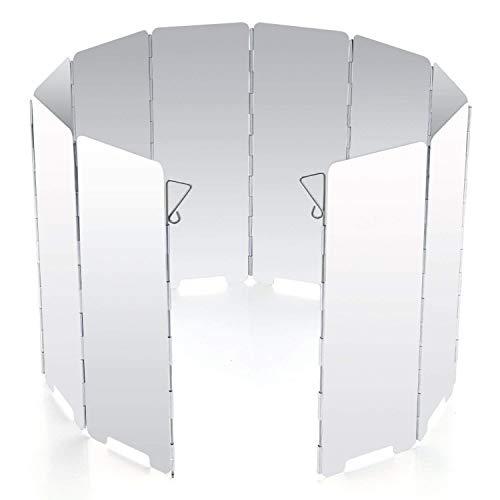 Diswoe 10 Placas Parabrisas Plegable para Camping Cocina Estufa de Gas Escudo Pantalla de Viento Cortavientos al Aire Libre (Type 1)
