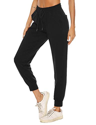 Hawiton Pantalon Chandal Mujer Largo Algodon Verano y Invierno Pantalon de Deporte Yoga Fitness Jogger Talla Grande, Negro, XXL
