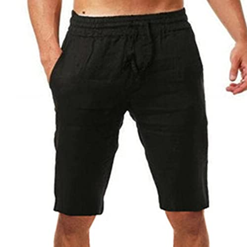 Men's Summer Lounge Shorts Pure Color Casual Shorts Lightweight Sleeping Short Black