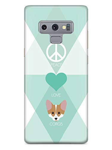 Inspired Cases - 3D Textured Galaxy Note 9 Case - Rubber Bumper Cover - Protective Phone Case for Samsung Galaxy Note 9 - Peace, Love & Corgis