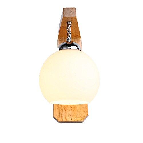 Pouluuo Lampe de chevet en bois massif en bois moderne salon personnalité personnalité chambre lampe murale éclairage / 20 * 20 * 30cm