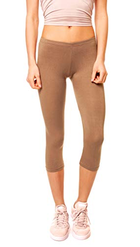 Easy Young Fashion Damen Basic Sommer Jersey Capri 3/4 Leggings Leggins Unterzieh Hose Kurz Baumwolle Stretch Einfarbig Uni One Size Hellbraun