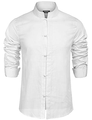 COOFANDY Herren Hemd Langarm Leinenhemd aus Baumwollemischung Regular Fit Freizeithemd Leinen Shirt