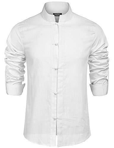 COOFANDY Leinenhemd Herren Hemd Herren Kurzarm Freizeithemd Sommer Casual Atmungsaktiv Shirt