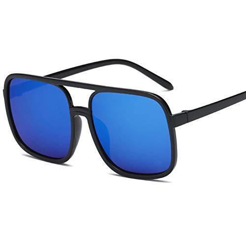 YHKF Gafas De Sol Cuadradas De Gran Tamaño para Mujer Gafas De Sol Femeninas De Diseñador De Moda para Mujer-Azul