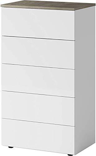 Mobelcenter – Cómoda 5 Cajones Aikos – Cómoda Dormitorio Matrimonio Acabado Color Blanco Artik y Roble Alaska – Cómoda Estilo Nórdico – Medidas: Ancho: 61 cm x Fondo: 40 cm x Alto: 100 cm - (1173)