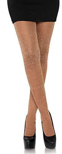 Leg Avenue Damen Strumpfhose mit Glitzer Effekten rose gold Einheitsgröße ca. 36 bis 40