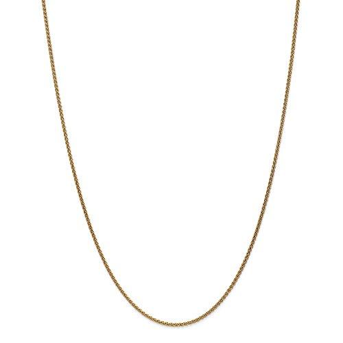 Diamond2deal 14K giallo oro 1.65mm solido spiga catena collana 45,7cm
