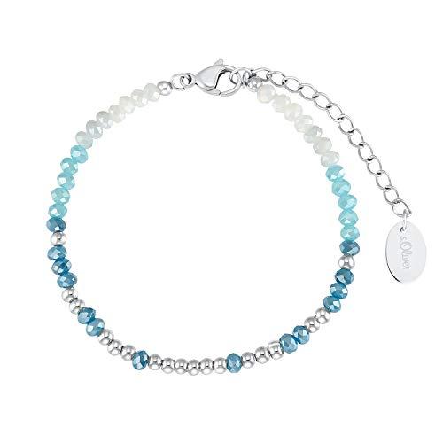 s.Oliver Armband für Damen, Edelstahl mit Glasperle türkis | Bracelet Bar
